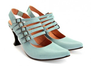 Macchiato Fluevog shoes, pretty blue shoes with heels and many straps